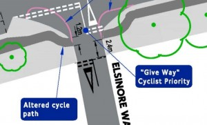 Elsinore Way will get priority for cycling.