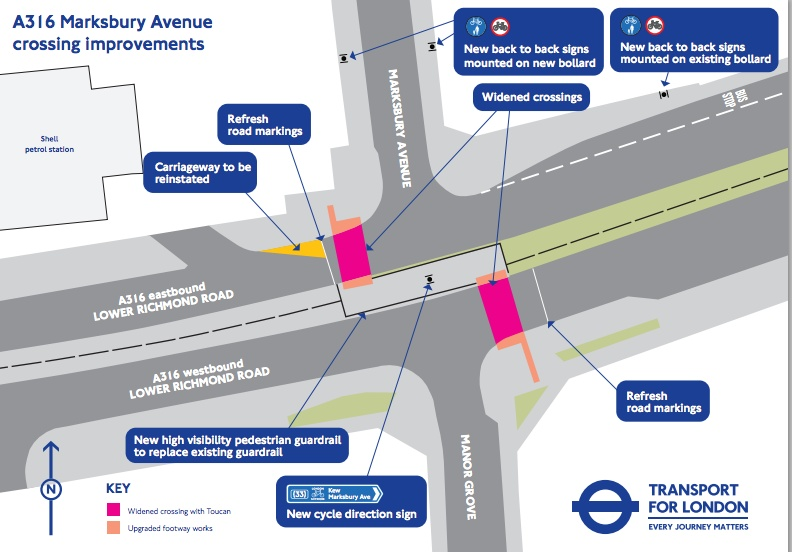 Planned changes at Marksbury Avenue / A316 junction.