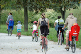 Family and friends cycling